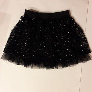 Girl's Black Lace Tutu / Skort w/ Silver Dots Sz M
